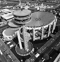 0259085 © Granger - Historical Picture ArchiveQUEENS: WORLD'S FAIR, 1964.   Aerial view of the New York State Pavilion and observation towers on the grounds of the 1964 New York World's Fair in Flushing Meadows, Queens. Photograph, c1964.