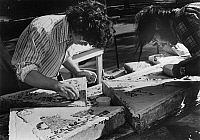 0259298 © Granger - Historical Picture ArchiveWASHINGTON SQUARE PARK.   Artists making tiles for the Patchwork Plaza in Washington Square Park, New York City. Photograph, c1971.