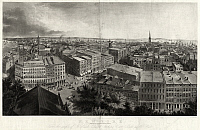 0259482 © Granger - Historical Picture ArchiveNEW YORK CITY, c1855.   A view of Broadway in Manhattan, including Brady's Daguerreian Miniature Gallery and Barnum's American Museum. Engraving by Henry Papprill after a drawing by J.W. Hill, c1855.