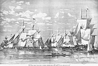 0265892 © Granger - Historical Picture ArchiveNEW YORK: RUSSIAN NAVY.   The Russian fleet, commanded by Admiral Stephan Lisovsky, arriving in New York Harbor, October 1863. Contemporary American engraving.