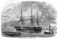 0265893 © Granger - Historical Picture ArchiveNEW YORK: RUSSIAN NAVY.   The Russian frigate 'Osliaba,' in the fleet commanded by Admiral Stephan Lisovsky, arriving in New York Harbor, October 1863. Contemporary American engraving.