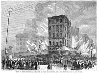 0266350 © Granger - Historical Picture ArchiveBARNUM'S MUSEUM FIRE, 1865.   P.T. Barnum's Museum on Broadway, New York City, as seen the morning after it was destroyed by fire on 13 July 1865. Contemporary American wood engraving, after a sketch by A.R. Waud.