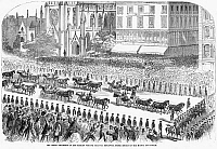 0266352 © Granger - Historical Picture ArchiveNEW YORK: RUSSIAN VISIT.   Grand procession on Broadway, during the visit of the Russian fleet to New York City, under escort of the military and police. Engraving, American, 1863.