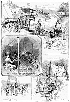 0267137 © Granger - Historical Picture ArchiveNEW YORK: GYPSIES, 1882.   Scenes at the Gypsy encampment on Broadway in New York City. Engraving, American, 1882.