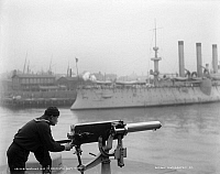 0268314 © Granger - Historical Picture ArchiveBROOKLYN NAVY YARD, c1900.   A machine gun at the Brooklyn Navy Yard in Brooklyn, New York. Photograph, c1900.