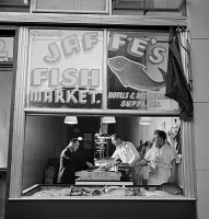 0323839 © Granger - Historical Picture ArchiveNEW YORK: FISH MARKET, 1942.   Jaffe's Fish Market in a Jewish neighborhood in New York City. Photograph by Marjory Collins, 1942.