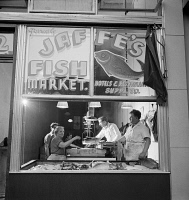 0323840 © Granger - Historical Picture ArchiveNEW YORK: FISH MARKET, 1942.   Jaffe's Fish Market in a Jewish neighborhood in New York City. Photograph by Marjory Collins, 1942.