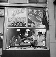 0323841 © Granger - Historical Picture ArchiveNEW YORK: FISH MARKET, 1942.   Jaffe's Fish Market in a Jewish neighborhood in New York City. Photograph by Marjory Collins, 1942.