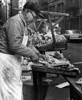 0323860 © Granger - Historical Picture ArchiveNEW YORK: FISHMONGER, 1964.   Charles Catalano cleaning fish at his pushcart on Hester Street and Mott Street in New York City. Photograph by Phyllis Twachtman, 1964.