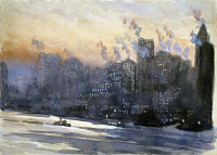 0351748 © Granger - Historical Picture ArchivePENNELL: NEW YORK CITY, 1924.   New York Harbor and the Manhattan skyline at dusk. Watercolor by Joseph Pennell, c1924.
