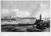 0354218 © Granger - Historical Picture ArchiveNEW YORK CITY, c1820.   A view of New York City from Fort Columbus on Governors Island. Engraving, 1820.