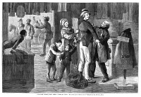 0354243 © Granger - Historical Picture ArchiveNEW YORK: CHATHAM STREET.   'Tight, My Child? You Look Like and Angel In It!' A man and boy getting outfitted in ill-fitting clothes at Chatham Street in downtown Manhattan. Wood engraving, American, 1875.