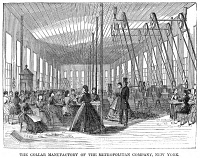 0354245 © Granger - Historical Picture ArchiveNEW YORK: COLLAR FACTORY.   The collar manufactory of the Metropolitan Company in New York City. Wood engraving, American, 1866.