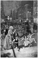 0355032 © Granger - Historical Picture ArchiveNEW YORK: STREET FAIR.   'The New East Side of New York - A Summer Night on the Asphalt.' Drawing by W.A. Rogers, late 19th century.