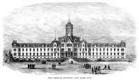0355244 © Granger - Historical Picture ArchiveNEW YORK: HOSPITAL, 1867.   German hospital, now the Lenox Hill hospital, between 76th and 77th Streets and between Lexington Avenue and Park Avenue in New York City. Wood engraving, American, 1867.
