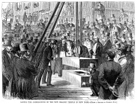 0355251 © Granger - Historical Picture ArchiveNEW YORK: MASONIC TEMPLE.   'Laying the Cornerstone of the New Masonic Temple in New York.' Wood engraving, American, 1870.