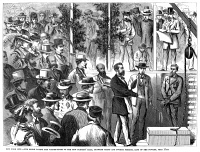 0355277 © Granger - Historical Picture ArchiveNEW YORK: TURNER'S HALL.   Mayor Abraham Oakey Hall laying the cornerstone of the new Turner's Hall on 4th Street between 2nd Avenue and the Bowery in New York City, 17 July 1871. Contemporary American wood engraving.