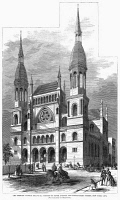 0355295 © Granger - Historical Picture ArchiveNEW YORK: SYNAGOGUE, 1868.   The Temple Emanu-El at Fifth Avenue and 43rd Street in New York City. Wood engraving after a photograph by Rockwood, 1868.