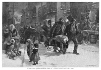 0370075 © Granger - Historical Picture ArchiveNEW YORK: LITTLE ITALY.   Mulberry Street in Little Italy on a winter evening. Engraving after a drawing by W.A. Rogers, 1890.