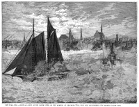 0370094 © Granger - Historical Picture ArchiveNEW YORK: NORTH RIVER.   An icy and foggy scene on the Hudson River in New York City, 30 December 1880. Contemporary American wood engraving.