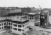 0395073 © Granger - Historical Picture ArchiveNEW YORK: EAST HARLEM.   Construction of the James Weldon Johnson Houses, covering 112th Street to 115th Street between Park Avenue and Third Avenue in East Harlem, New York City. Photograph by Al Aumuller, 1947.