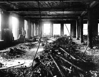 0395110 © Granger - Historical Picture ArchiveTRIANGLE FACTORY FIRE.   The interior of the Asch Building after the Triangle Shirtwaist Factory fire. Photograph, 25 March 1911.