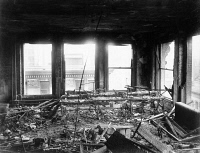 0395111 © Granger - Historical Picture ArchiveTRIANGLE FACTORY FIRE.   The interior of the Asch Building after the Triangle Shirtwaist Factory fire. Photograph, 25 March 1911.