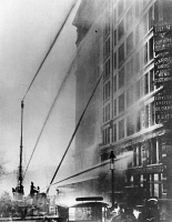 0395112 © Granger - Historical Picture ArchiveTRIANGLE FACTORY FIRE.   Firefighters at the Triangle Shirtwaist Factory. Photograph, 25 March 1911.
