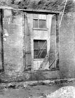 0395113 © Granger - Historical Picture ArchiveTRIANGLE FACTORY FIRE.   A window and fire escape of the Asch Building after the Triangle Shirtwaist Factory fire. Photograph, 25 March 1911.