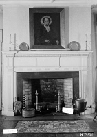 0408111 © Granger - Historical Picture ArchiveBROOKLYN: LEFFERTS HOUSE.   Fireplace in the Great Dining Room at the Lefferts House in Prospect Park, Brooklyn, New York. Photograph by E.P. MacFarland, 1936.