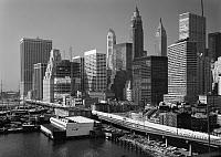 0409599 © Granger - Historical Picture ArchiveNEW YORK: HARBOR, c1980.   A view of the harbor with Schermerhorn Row in the center, New York. Photograph, c1980.