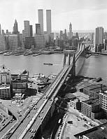 0409608 © Granger - Historical Picture ArchiveBROOKLYN BRIDGE, 1978.   Looking northwest over the Brooklyn Bridge to Manhattan, New York. Photograph by Jack Boucher, 1978.