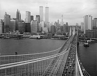 0409612 © Granger - Historical Picture ArchiveBROOKLYN BRIDGE, 1982.   View from the top of the Brooklyn Bridge showing main cables and suspenders looking northwest towards Lower Manhattan, New York. Photograph by Jet Lowe, 1982.