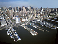 0409624 © Granger - Historical Picture ArchiveNEW YORK CITY, c1995.   Aerial view from the East River towards midtown Manhattan, New York. Photograph by Carol M. Highsmith, c1995.
