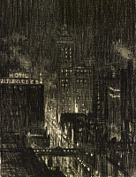 0428641 © Granger - Historical Picture ArchivePENELL: KNICKERBOCKER.   'Hotel Knickerbocker, Night Scene.' Joseph Pennell, charcoal on paper, c1906.