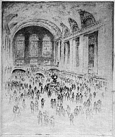 0527646 © Granger - Historical Picture ArchivePENNELL: GRAND CENTRAL.   'Concourse, Grand Central.' Etching by Joseph Pennell, 1919.