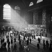 0527652 © Granger - Historical Picture ArchiveGRAND CENTRAL, 1941.   Commuters in Grand Central Terminal in New York City. Photograph by John Collier, 1941.