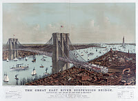 0527653 © Granger - Historical Picture ArchiveBROOKLYN BRIDGE, c1892.   'Grand Birds' Eye View of the Great East River Suspension Bridge Connecting the cities of New York & Brooklyn.' Lithograph by Currier & Ives, c1892.