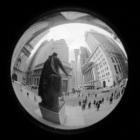 0528328 © Granger - Historical Picture ArchiveNEW YORK CITY, 1971.   Fish-eye view of Wall Street from the steps of Federal Hall in New York City. Photograph by Thomas O'Halloran, 1971.