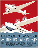 0528463 © Granger - Historical Picture ArchiveNEW YORK AIRPORTS, c1936.   Poster for the New York airports at Floyd Bennett Field and North Beach and the East River Seaplane bases. Silkscreen poster, c1936.