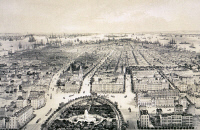 0620240 © Granger - Historical Picture ArchiveNEW YORK CITY, 1849.   Panoramic view of New York City looking south from Union Square. Engraving, 1849.