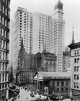 0621541 © Granger - Historical Picture ArchiveNEW YORK: TELEPHONE AND TELEGRAPH, c1916. The Telephone & Telegraph Building at the intersection of Broadway and Fulton in New York City. Photograph by Irving Underhill, c1916.