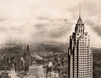 0622289 © Granger - Historical Picture ArchiveNEW YORK: 70 PINE STREET.   The New York City office building 70 Pine Street backed by Midtown Manhattan. Photograph, c1932.