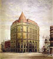 0622313 © Granger - Historical Picture ArchiveNEW YORK: COTTON EXCHANGE.   View of the New York Cotton Exchange Building from the street. Drawing by Hughson Hawley, c1883.