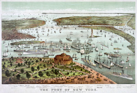 0623096 © Granger - Historical Picture ArchiveNEW YORK HARBOR, 1892.   'The Port of New York.' Bird's eye view of the harbor of New York City, teeming with ships of various types. Engraving by Currier & Ives, 1892.