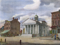 0009019 © Granger - Historical Picture ArchiveBANK OF PENNSYLVANIA, 1800.   The City Tavern (left) and the Bank of Pennsylvania, South Second Street, Philadelphia. Color line engraving, 1800, by William Birch & Son.