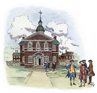 0010672 © Granger - Historical Picture ArchiveCARPENTER'S HALL.   Carpenter's Hall, Philadelphia, Pennsylvania, meeting-place of the First and Second Continental Congresses of 1774 and 1775. Illustration by Howard Pyle.