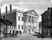 0014973 © Granger - Historical Picture ArchiveFIRST BANK OF U.S., 1799.   The First Bank of the United States, in Third Street, Philadelphia. Line engraving, 1799, by William Birch & Son.