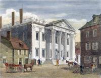 0061839 © Granger - Historical Picture ArchiveFIRST BANK OF U.S., 1799.   The First Bank of the United States, in Third Street, Philadelphia: colored line engraving, 1799, by William Birch & Son.