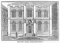 0092156 © Granger - Historical Picture ArchiveMASONIC HALL, c1830.   The Masonic temple in Philadelphia, Pennsylvania. Wood engraving, American, c1830.